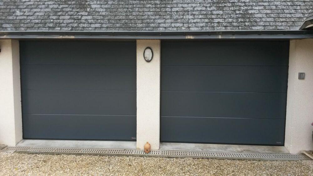 Pose deux portes de garage gris anthracite sectionnelles 0