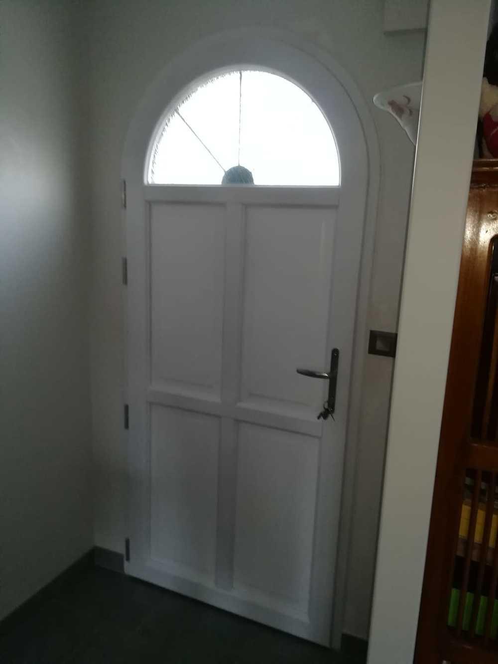 Porte d''entrée aluminium - bois - intérieur blanc 0